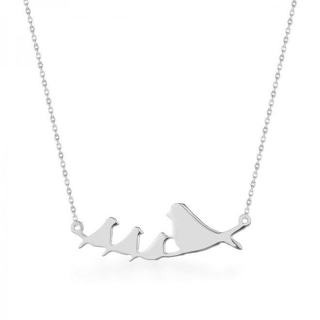 Anı Yüzük - Anne Ve Yavru Kuşlar Motifli Bayan Kolye