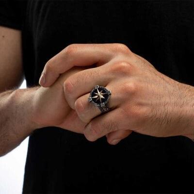 Çapalı Pusula Tasarımlı Gümüş Erkek Yüzük - Thumbnail
