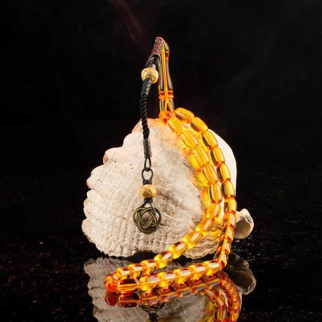 Gümüş Kazazlı Sarı Sıkma Kehirbar Tesbih - Thumbnail