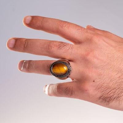 Kahverengi Kaplangözü Taşlı Kelime-yi Tevhid Yazılı Gümüş Erkek Yüzük - Thumbnail