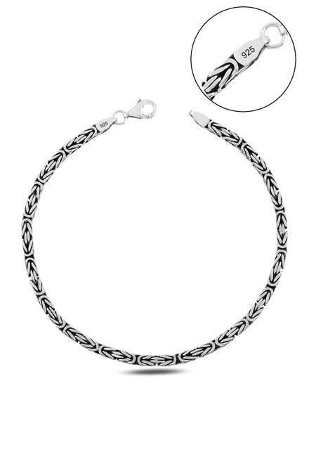 kayı - Klasik Kral Kare Zincir Gümüş Bileklik