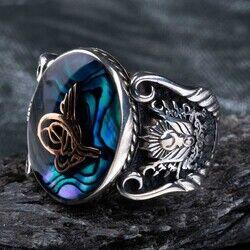 Mavi Mineli Osmanlı Tuğralı Gümüş Erkek Yüzük