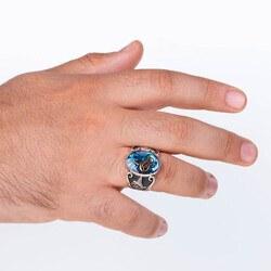 Mavi Mineli Osmanlı Tuğralı Gümüş Erkek Yüzük - Thumbnail