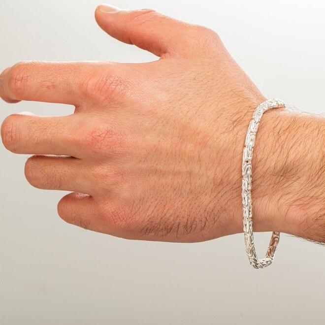 kayı - Oval Kral Beyaz Gümüş Bileklik