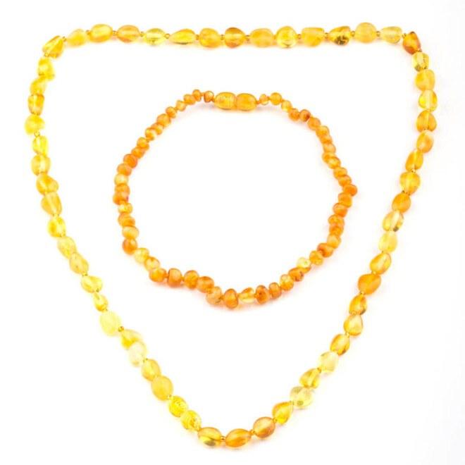 Anı Yüzük - Sarı Tonları Orijinal Damla Kehribar Taşlı Anne-bebek Diş Kolyesi